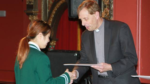 Craighead Diocesan School student Yaya Chanawichote is awarded the South Canterbury Coresteel Building Innovation Award, ...