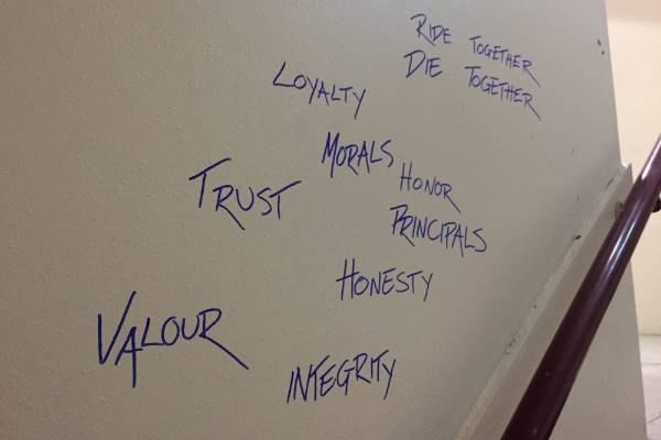 Bizarre graffiti complements tagging in the Quantum on Boulcott stairwells.