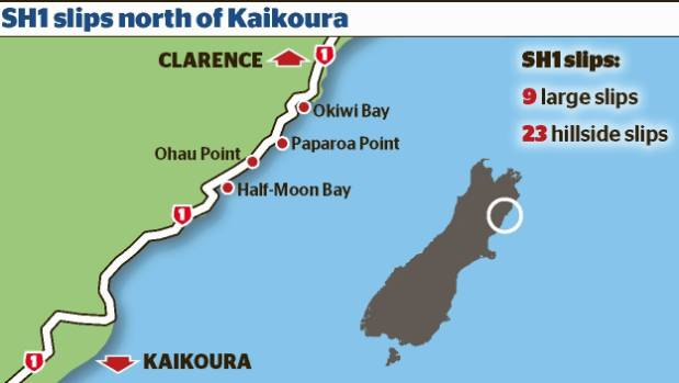 Map showing State Highway 1 slips north of Kaikoura.