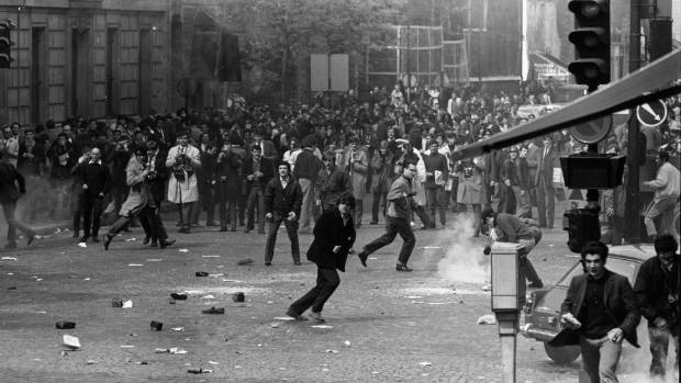 A Paris student revolt in 1968 brought running battles with riot police