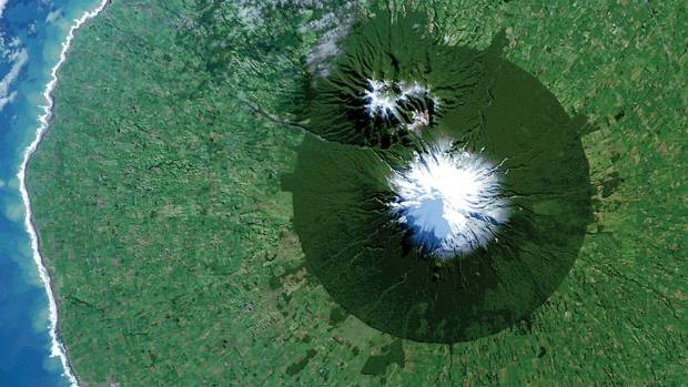 Egmont National Park with Mt. Taranaki at its centre, captured in a NASA satellite image.
