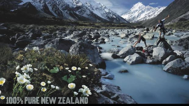Tourism NZ 100% Pure New Zealand advertising  campaign. Image of Mt Cook.