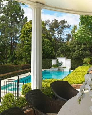 A view of the pool from the main house; the hedging on the left is Eugenia ventenatii and on the right Ficus 'Tuffy'.