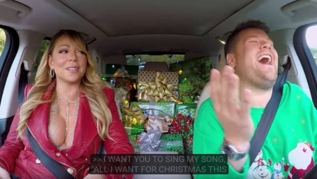 A cavalcade of stars sing Maria Carey's Christmas hit in 'Carpool Karaoke'