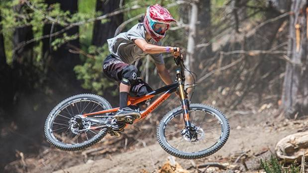 One of the more expert mountain bikers on the track.