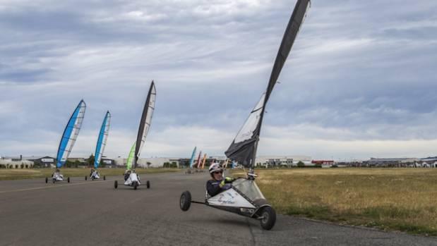 Canterbury Blokart Club members race during one of their meets in Wigram.