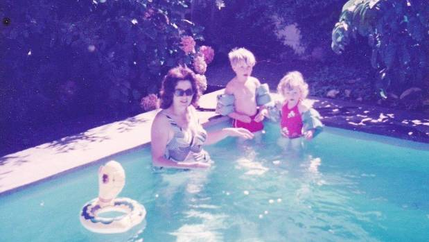 "Actor Will Hall with his mother and sister enjoying the summer break as a child. "" My Mum's togs look like they're ..."