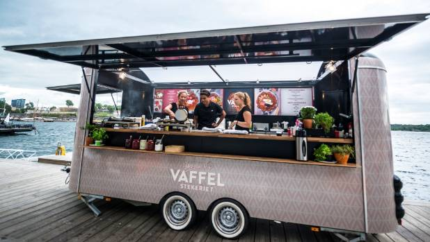 Truck selling freshly cooked waffles in Oslo.