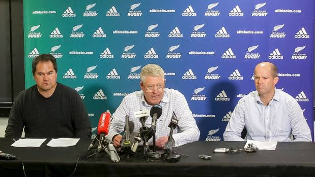 At a press conference where the Chiefs stripper findings were released are (from left) Chiefs coach Dave Rennie, NZR ...