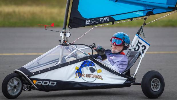 """Flying Dutchman"" Rudolph Meltzer, 75, competed in blokarting in the New Zealand Masters Games before and will do so ..."