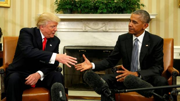 US President Barack Obama meets with President-elect Donald Trump in the Oval Office of the White House in Washington ...