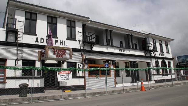The Adelphi Hotel in the centre of Kaikoura has been red-stickered, meaning it is likely to be demolished.