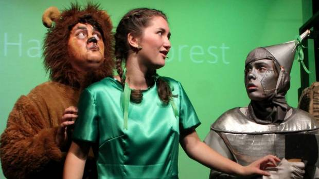 Brother and sister acting duo Christian George, as the lion, and Katrina George, as Dorothy, in a Birkenhead College ...