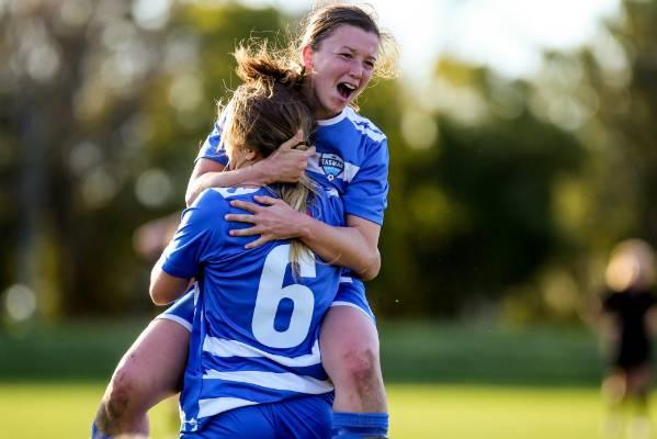 Tasman United players Briar Luff and Tiana Williams celebrate a goal during their 3-2 win over Waimakariri United in the ...