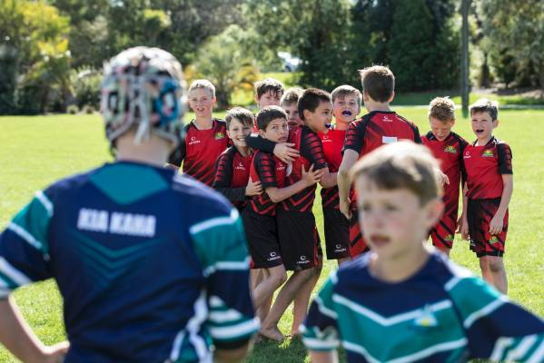 Richmond School celebrate winning the final against Nayland in the Simon Mannering Cup, Primary Schools Rugby League ...