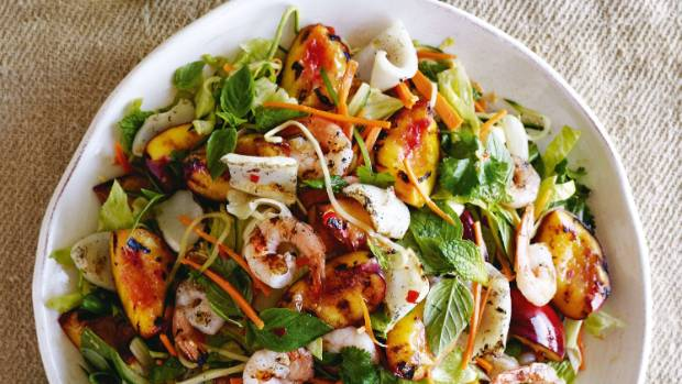 Barbecued nectarine, prawn and squid salad.