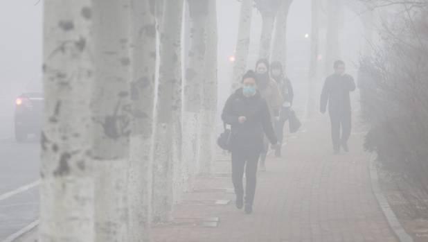 Pedestrians wearing masks walk along a street in heavy smog in Dalian, China.