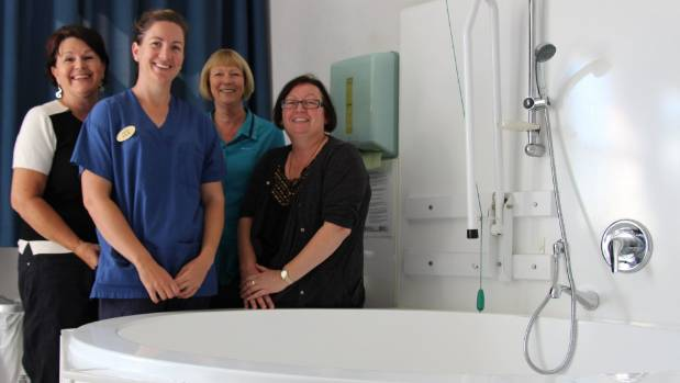 At the friendly and peaceful Pukekohe Primary Birthing Unit: Carol Hedgman, Kylie Harland, Barbara Hall and Lynn Austerberry.