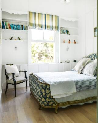 """The upholstered bed in the spare bedroom (which the Owens call """"Nana's room"""") was the first purchase the couple made on ..."""