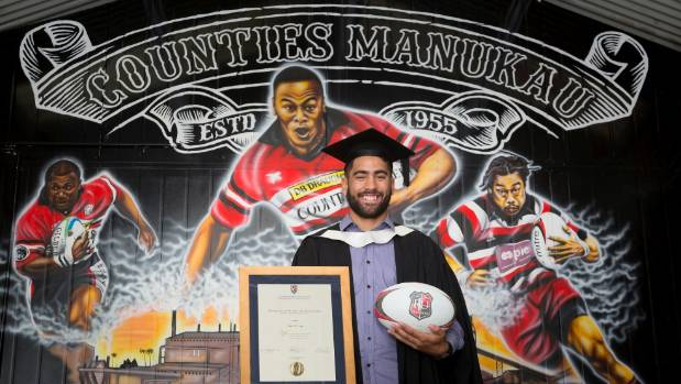 Gene Te Amo with his Bachelor of Sport & Recreation certificate.