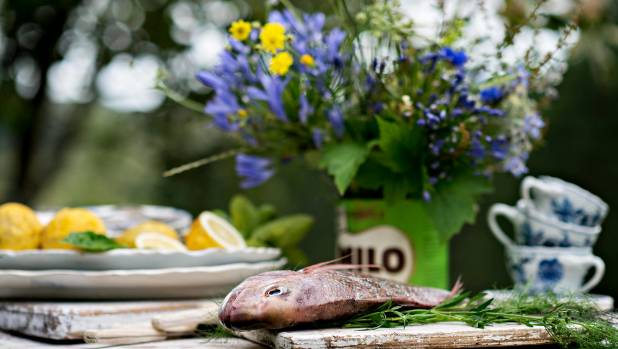 Fruit, flowers and herbs from the garden make great table embellishments.