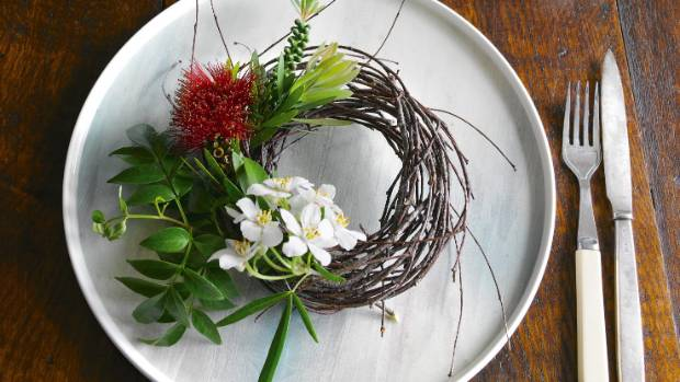 Instead of name tags, decorate your table with mini floral wreaths.