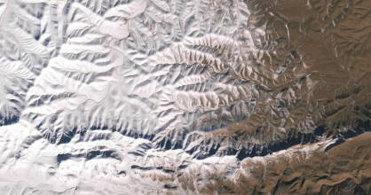 A satellite image of the snow in North Africa on December 19, 2016.