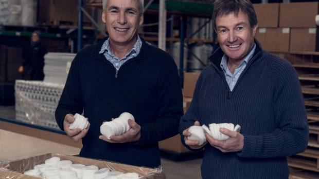 Texus Fibre chief executive Nick Davenport and director Andy Ramsden with the new wool filters.