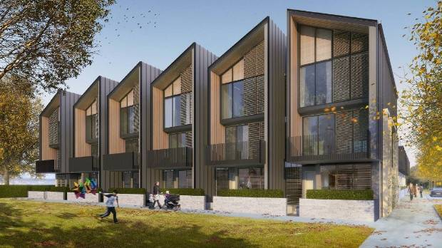 Artist impression of first townhouses for Fletcher Living's 900-home East Frame project.