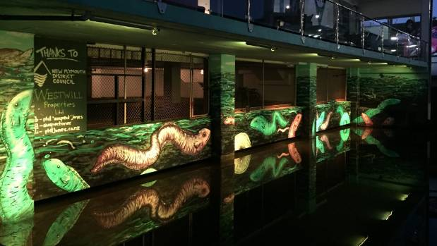 New Plymouth street artist Phil Jones has mirrored the eels in the Huatoki Stream, in his latest piece at the Huatoki ...