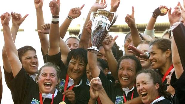 Black Ferns captain Farah Palmer, centre right, celebrating winning the 2002 Rugby World Cup.