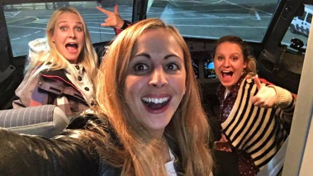 The women took selfies in the cockpit before the two-and-a-half hour flight.