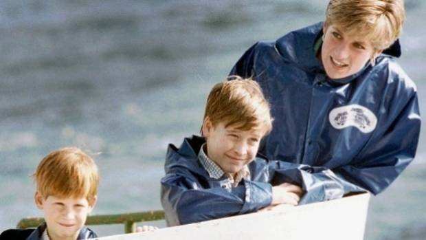Diana, Princess of Wales, with her sons Prince Harry, then 7, and Prince William, then 9, in 1991.