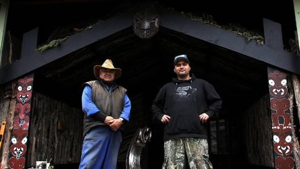 Shane Isherwood and his son and carver Hayz in the Tongariro National Park's new cultural hub where 12 pou whenua are ...