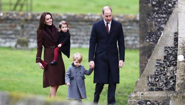 The young royals head to church.