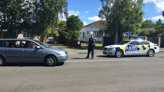 Armed police were stopping people enter part of Ferguson St, Palmerston North.