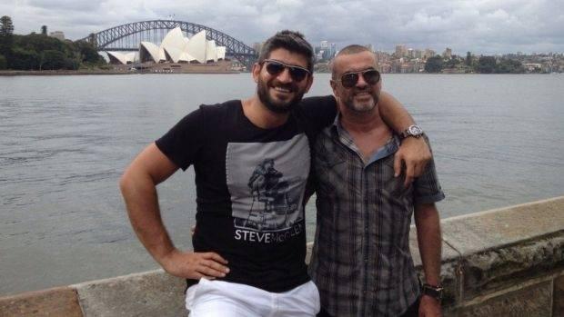 George Michael, rightt, with then-boyfriend, Queensland-born Fadi Fawaz, in Sydney in 2012.