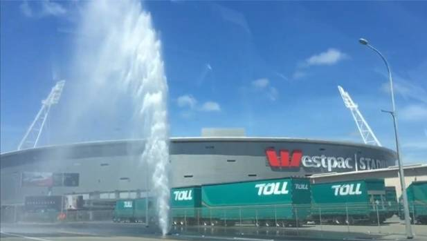 A water main also burst in spectacular fashion near Wellington's Westpac Stadium on Boxing Day.