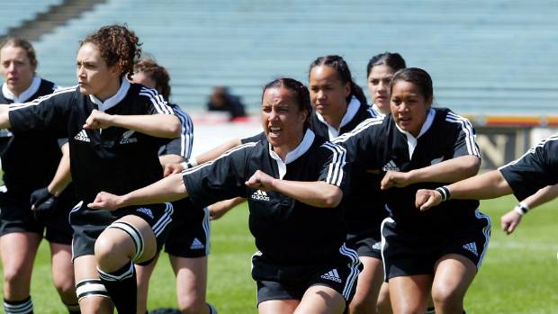 Farah Palmer performs a haka before a 2003 Black Ferns test.