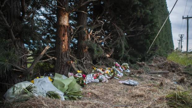 Tributes at the site of where the teenager's crashed, near Leeston.