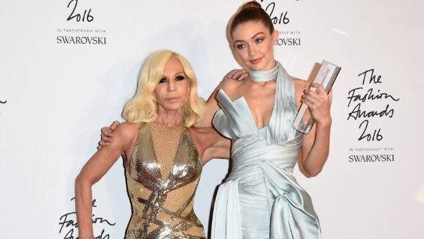 Supermodel moment model Gigi Hadid poses with Donatella Versace at the International Model of the Year Award at The