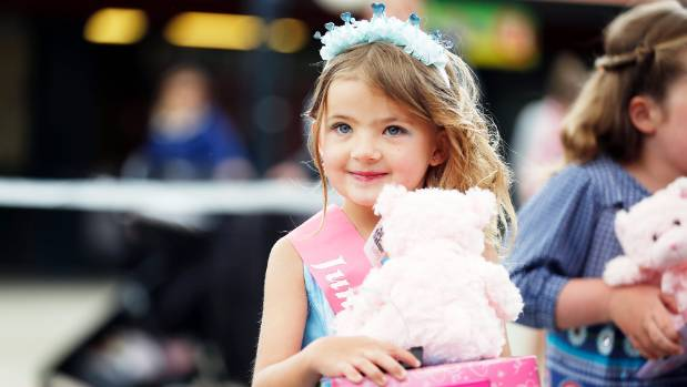 Taking the title of Junior Miss Cutie Caroline Bay is Emerald Woodall, 6, of Timaru on Wednesday.