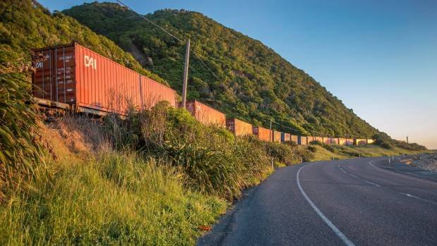 A freight train trapped by landslides north of Kaikoura.