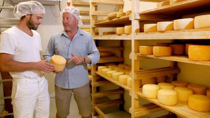 Thorvald owner director David Barrett, right, with master cheese maker Francis Bigot who produces sheep milk cheeses for Thorvold.