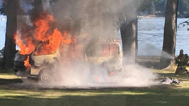 The van was completely destroyed by fire on the shores of Lake Wanaka.