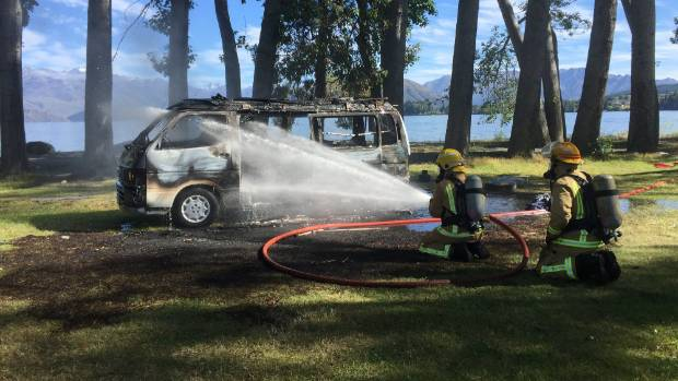 The campervan fire is believed to have been caused by a gas leak while cooking.
