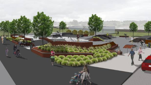 An artist's impression of the skate park at Rivertion Reserve in Randwick Park.