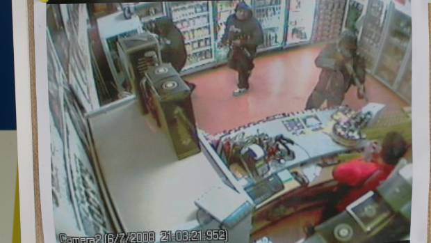 The bad old days: CCTV footage of the robbery in which Navtej Singh was shot dead.