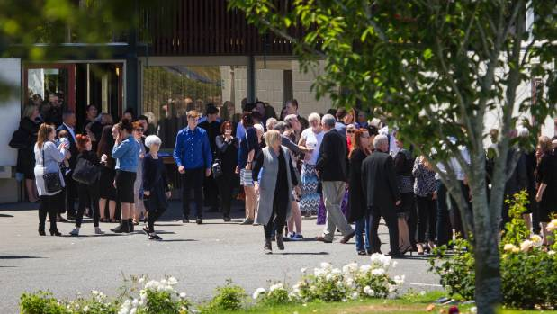 Friends and family leave Harewood Crematorium after Sam Drost's funeral.