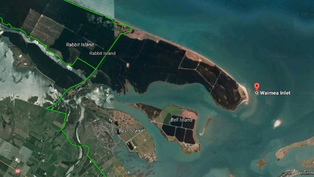A sattelite map showing where the sperm whale beached at the Blind Channel end of Rabbit Island, near Nelson.